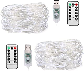 TingMiao Fairy Lights 8 Modes Waterproof String Lights, 2 Pack 33ft 100 LED Mini Lights with Remote Control USB Powered, Copper Wire Decorative Lights for Festival Party, Cool White