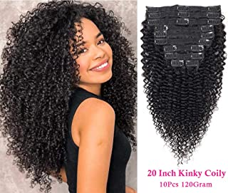 Apeasex Kinky Curly Clip Ins Hair Extensions ins Brazilian 8A Grade 3C 4A Afro Kinkys Curly Clip in Human Hair Extensions 1B Natural Black Color for African American Women 10Pcs/lot 120g/set,20 inch