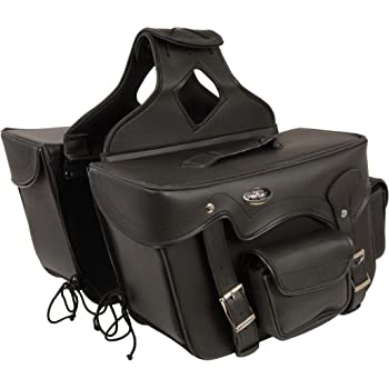 Milwaukee Performance SH666ZB Black Zip-Off Double Front Pocket PVC Throw Over Saddle Bag with Reflective Piping