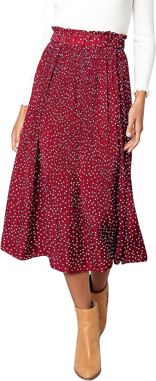 Century Star Women's Polka Dot Pleated Skirt Swing Midi Maxi Skirt High Waisted Skirts for Women with Pockets
