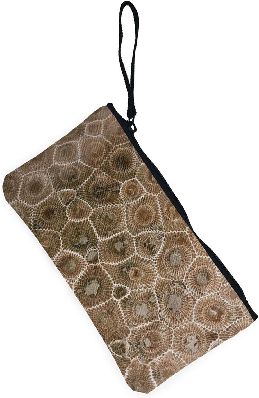 AORRUAM Petoskey Stone Canvas Coin Purse,Canvas Zipper Pencil Cases,Canvas Change Purse Pouch Mini Wallet Coin Bag