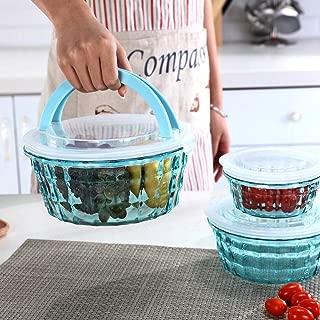 Bowls with Lids Set – Plastic Clear Mixing Bowls – Elegant salad Bowls – Large Capacity Serving Bowl Set –, Dishwasher, Freezer Safe – 3 Piece Bowl Set, Essential Kitchen Accessories