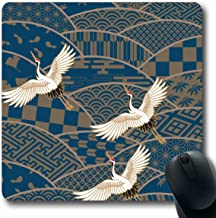 Ahawoso Mousepad Oblong 7.9x9.8 Beige Pattern Three Cranes Multiple Patterned Japanese Traditional Animals Animal Wildlife Blue Bird Non-Slip Rubber Mouse Pad Office Computer Laptop Game Mat