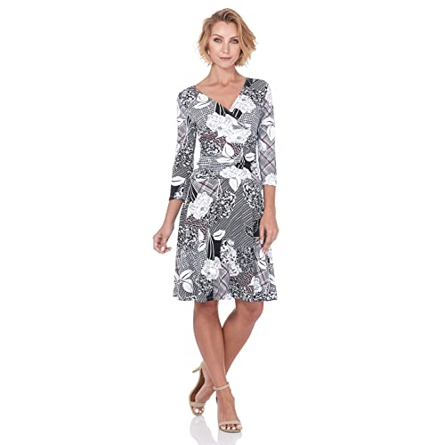6f25af3d Rekucci Women's Slimming 3/4 Sleeve Fit-and-Flare Crossover Tummy Control  Dress