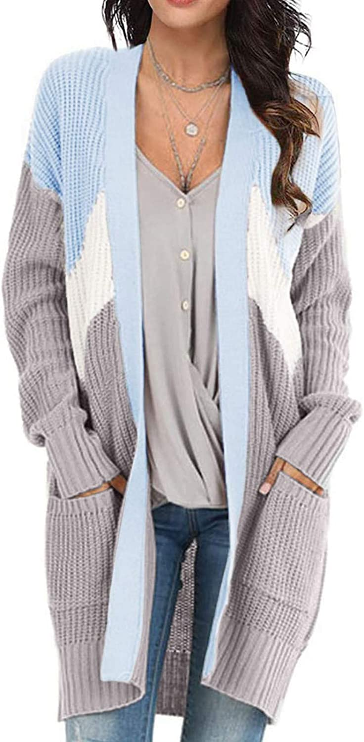 Sweaters for Women Long Sleeves Striped Print Cardigan Ladies Autumn Winter Warm Tops Comfy Blouses