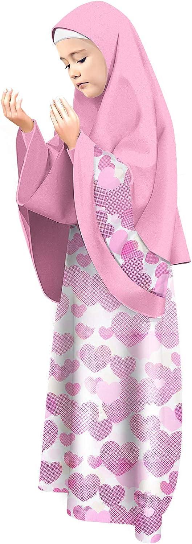 Kleid und Hijab f/ür M/ädchen Kinder Islamische Kleidung Gebetskleid Zwei Teile