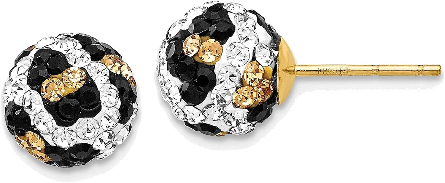 Crystal Leopard White Blackt Yellow 8mm Post Earrings in 14K Yellow Gold