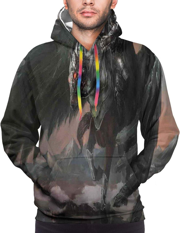Men's Hoodies Sweatshirts,Pegasus Flying Wings Birds in Rainbow Colors Inspiration Imagination Design Artistic