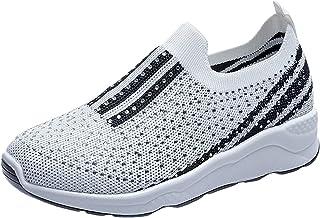 lcybem Respirante Strass Baskets Femme Plateforme sans Lacets Chaussures de Course Legeres Tendances Fitness Sneakers