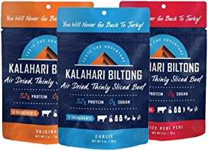 product image for Variety Pack Kalahari Biltong, Air-Dried Thinly Sliced Beef, 2oz (Pack of 3), Sugar Free, Gluten Free, Keto & Paleo, High Protein Snack