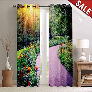 Hengshu Garden Window Curtain Drape Spring Landscape with Colorful Tulips Keukenhof Garden in Netherlands Horticulture Customized Curtains W108 x L96 Inch Multicolor