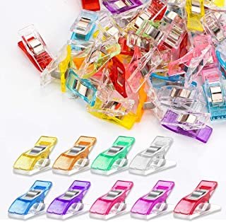 Multipurpose Sewing Clips 100Pcs Premium Quilting Clips Assorted Colors Fabric Clips for Sewing Supplies Quilting Accessor...