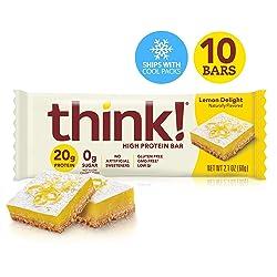 Think! (thinkThin) High Protein Bars - Lemon Delight, 20g Protein, 0g Sugar, No Artificial Sweetener