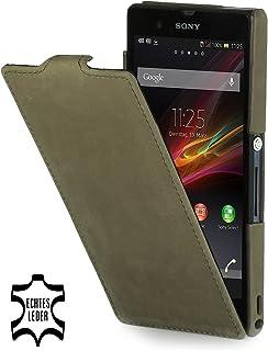 ca149ec1c39 StilGut Exclusiva funda en piel UltraSlim para Sony Xperia Z versión Old  Style verde Old Style