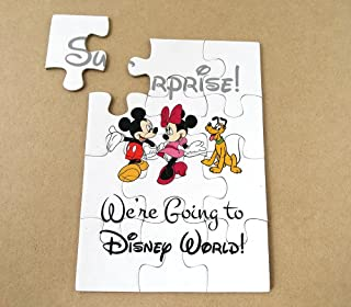 (ONE) We are going to Disneyland, Surprise Puzzle, Invitation, Mickey and Minnie Mouse, Goofy, Red, Pink, Black & White, Organza Pouch