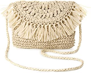 Joseko Umhängetasche aus Stroh, für Damen, gewebtes Rattan, Umhängetasche, Sommer, Strand, rund, für Reisen, Alltag