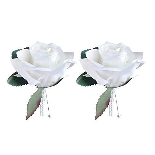 "DALAMODA 5.5"" Single Rose Boutonniere,Artificial Silk Flowers Fake Rose,for Wedding Bride and Groom Pack of 2 (Cream)"