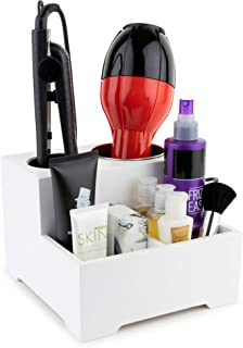 Stock Your Home Hair Care Organizer - Blow Dryer Holder - Hair Styling Station - Bathroom Vanity Countertop Organizer for Curling Iron, Flat Iron, Hair Tools and Beauty Accessories, Small, White