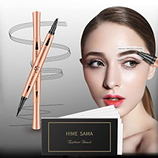 HIMESAMA 36 Pairs Reusable Eyebrow Shaper Kit, 2-in-1 Black Color Eye Liner & Eyebrow Pencil Set with 6 Fashionable Styles...