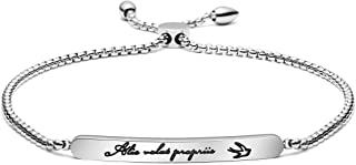 Alis Volat Propriis Bracelet Adjustable Link Bar Chain Bangle Latin Quote Mantra Graduation Gift for Her Inspirational Encouragement Motivational Jewelry
