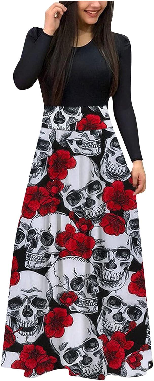 Womens Long Sleeve Halloween Maxi Dress Round Neck Pumpkin Black Cat Print Casual Tunic Long Maxi Dress