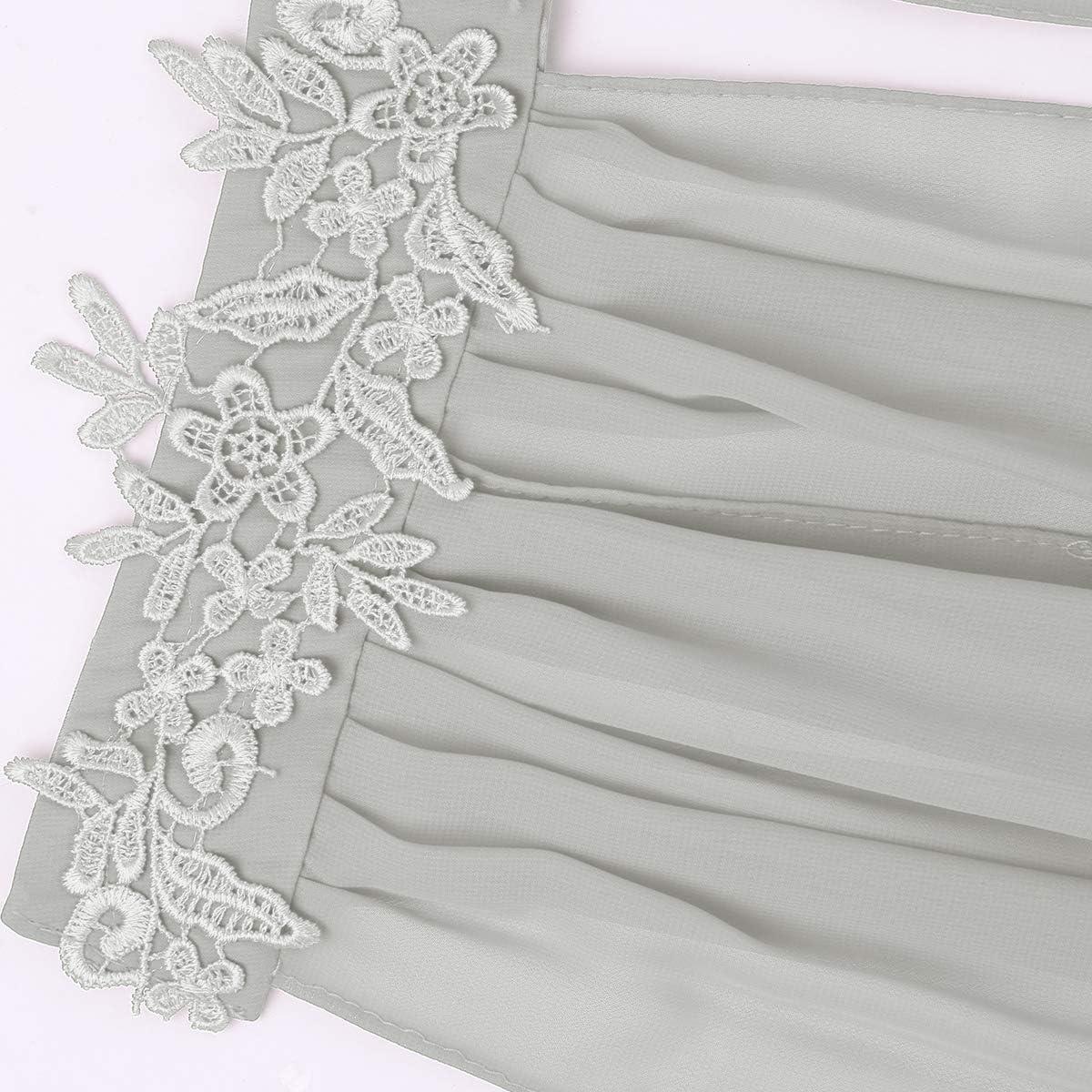 dPois Damen Cape Bolero Shrug Stola Boleroshrug Stehkragen aus Chiffon Spitzen mit Geteilten /Ärmeln Elegant f/ür Party Hochzeit