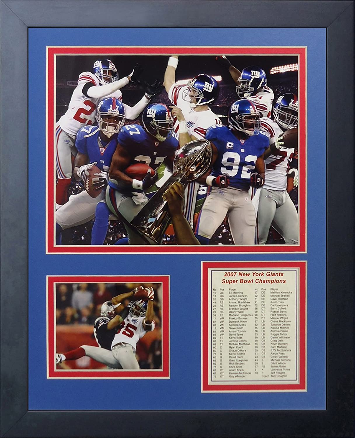 Legends Never Die 2007 New York Giants Super Bowl Champions  Framed Photo Collage, 11 x 14-Inch