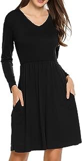 Women Long Sleeve Loose Plain Tunic Long Maxi Dress with Pockets