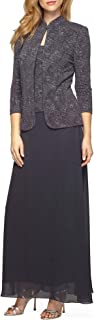 Alex Evenings Women's Jacquard Long Dress Mandarin-Neck Jacket (Petite Regular)