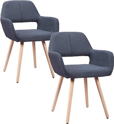 HENGMEI Lot de 2 chaises, Moderne Style Design, Bleu, 41 x