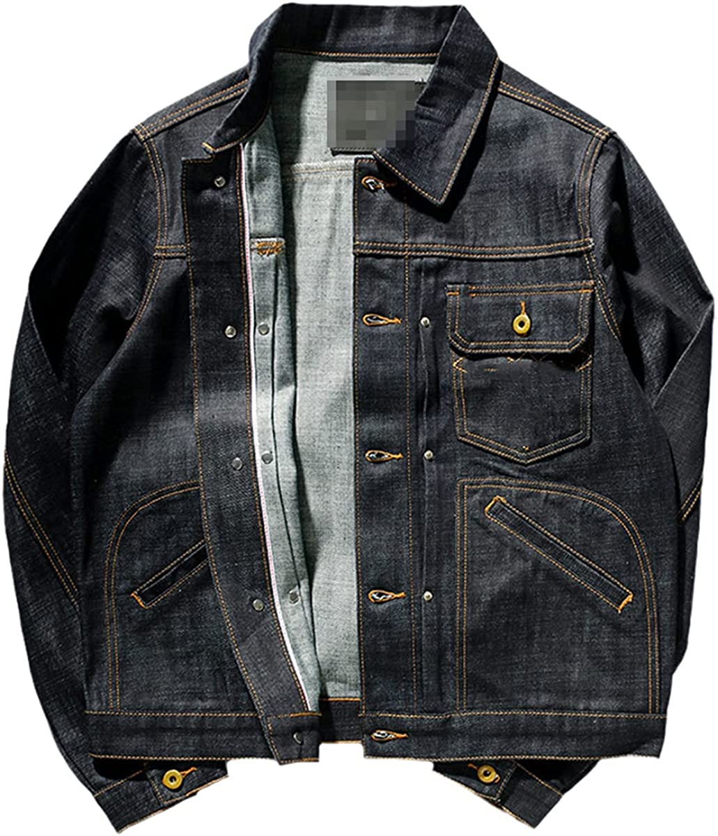 Spring Retro Denim Jacket Heavy Wash Old Men's Fashion Motorcycle Denim Tooling Jacket Jacket