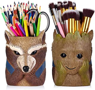 Pen Pencil Holder,Double Sided Animal Head Pen Holder Desk Organizer Decoration,Luxury Gift and Exquisite Handicraft (Doub...