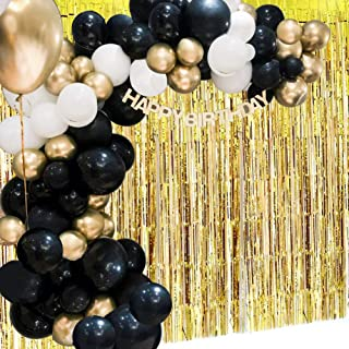 Black White Gold Balloon Garland Arch Kit with Balloons Gold Tinsel Curtain for Wedding Birthday Baby Shower Party Supplies Thanksgiving Christmas Party Decoration(130Pcs)