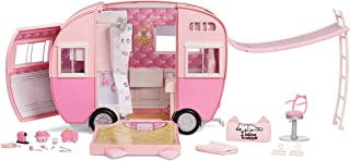 MGA Entertainment Na Na Na Surprise Kitty-Cat Camper, Pink Camper Vehicle with Cat Ears and Tail, 7 Play Areas Including F...