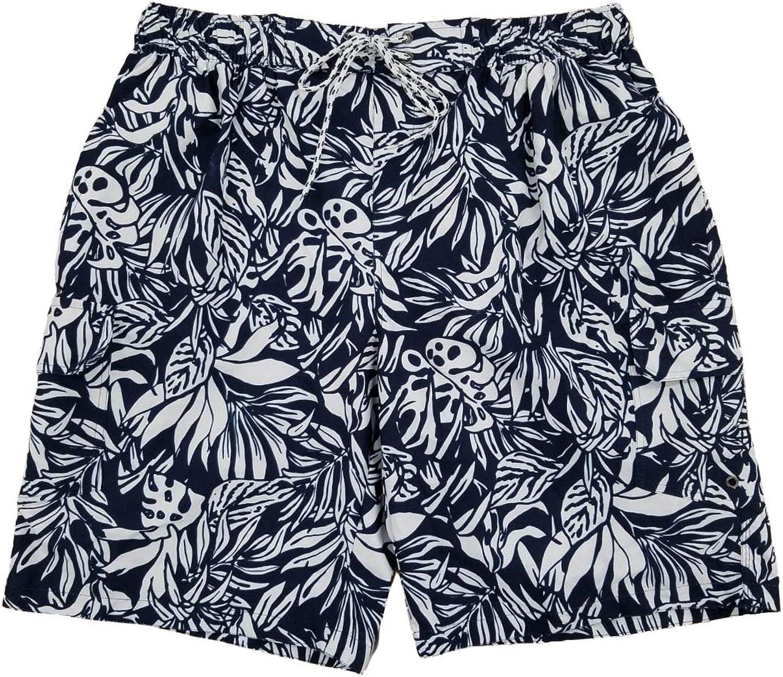 Mens Navy Blue & White Tropical Floral Hawaiian Swim Trunks Board Shorts