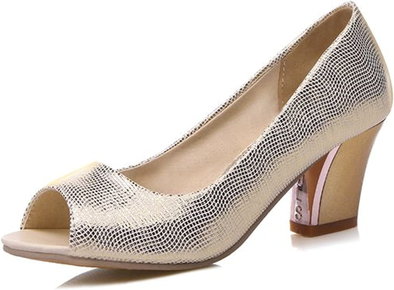 Gome-z Glitter Peep Toe Slip-on Ladies Pumps Mid Heel shoes Women 32-45 Spring Autumn gold Silver Dating Party PL924
