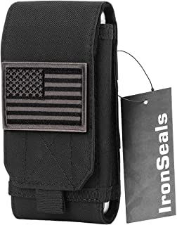 IronSeals Tactical MOLLE Cover Case, Large Heavy Duty Tatical Molle Loop Belt Pouch Cellphone Holster with Flag Patch for iPhone 11 Pro MAX/X/8P/7P/XR, Samsung S10/S10e/Note8/9, Galaxy S9+/S8+