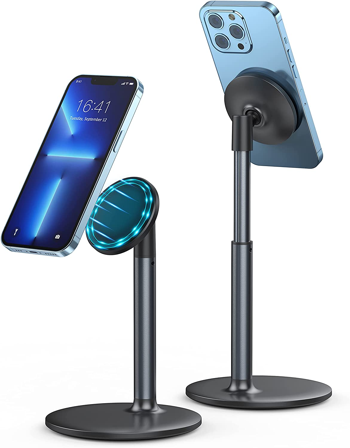 Magnetic Desk Phone Stand for iPhone 13/12 - Phone Holder Dock with 360°Rotation, Height&Tilt Adjustable for Office/Home Compatible with iPhone 13 12/13 12 Pro/13 12 Mini/13 12 Pro Max,MagSafe Case