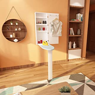 irene inevent Ironing Board Cabinet, Wall Mount Built-in Cabinet, Multi-Function Wall Mount Ironing Center with 4 Compartments, Wooden Leg&Blackboard Frame for Narrow Space Laundry Room Work Center