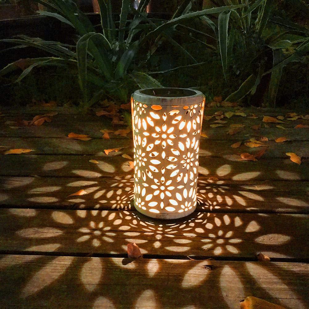 cypressen Farolillo Solar al Aire Libre, lámpara Decorativa de jardín, diseño cilíndrico de Hojas, lámpara de Noche, decoración Retro para terraza, Patio, jardín: Amazon.es: Hogar