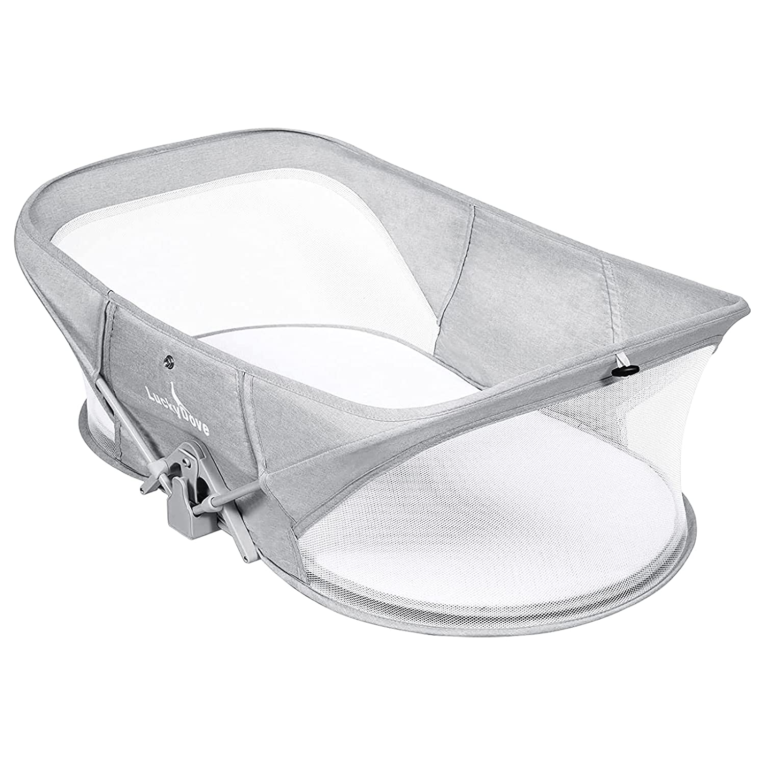 Luckydove Travel Bassinet-Folding Portable Bassinet,Bassinet for Baby,Portable Bassinet with Mosquito Net,Unique Patented Design,Easy to Fold and Lightweight,Washable,Grey