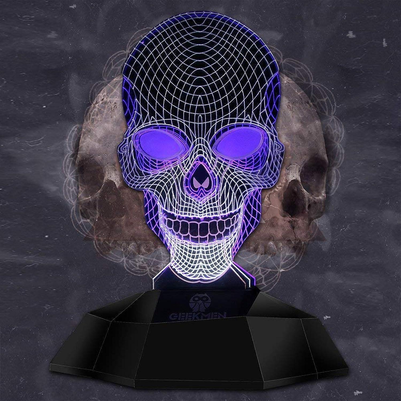 WMING Home Geometrische Schdel Form Design 3D Linie Lampe, Neuheit Kreative Skeleton Beleuchtung Kunst LED Nachtlicht 3D Effekt Lichter