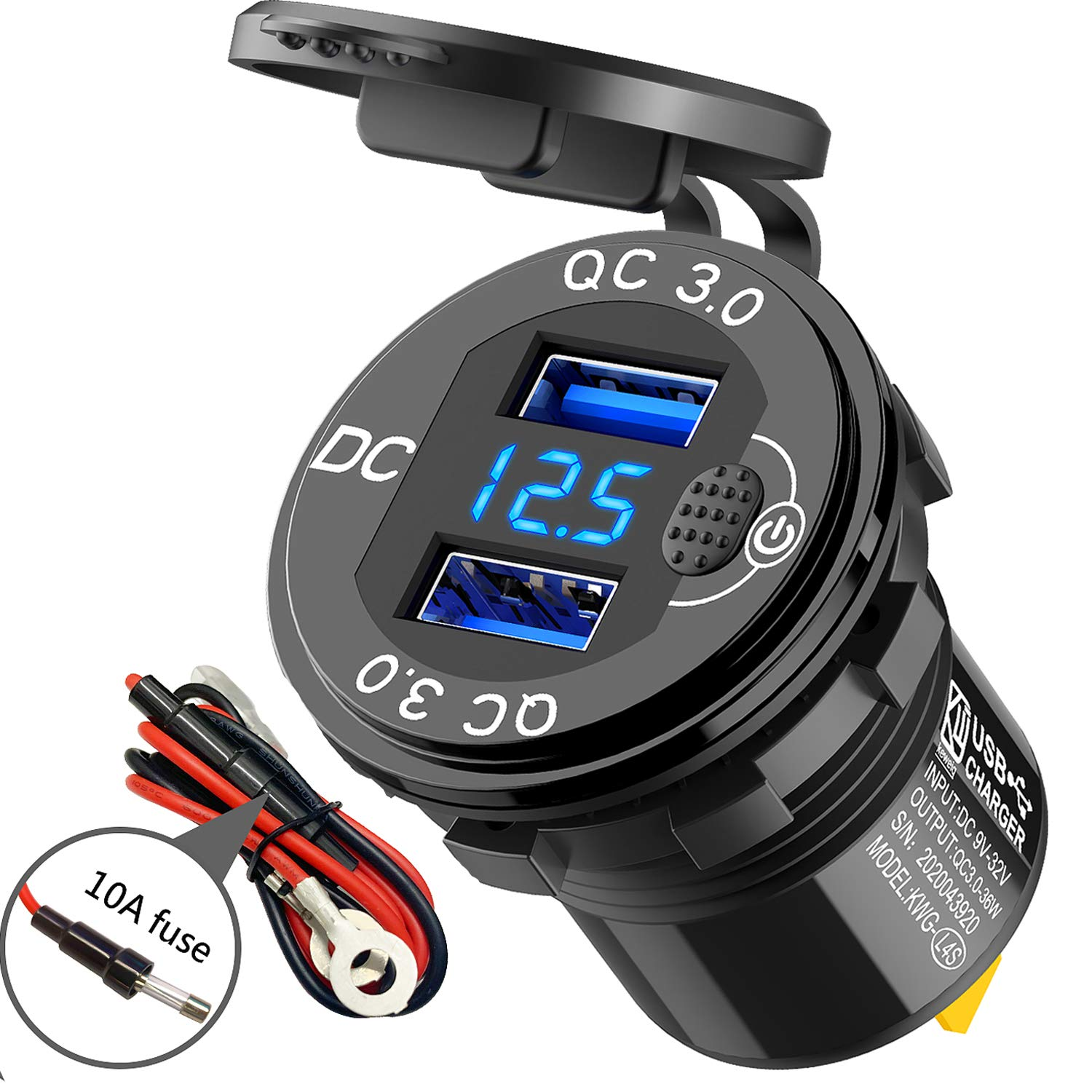 Quick Genuine Free Shipping Charge 3.0 Dual USB Charger Voltmeter Max 42% OFF Swit Socket and with