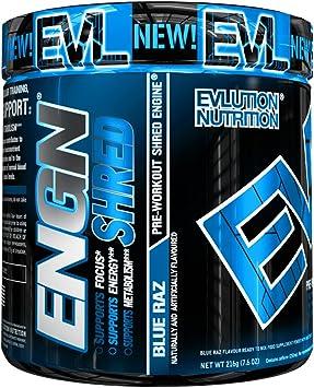 ENGN SHRED de Evlution Nutrition Polvo Quema Grasa Termogénico Para el Pre Entrenamiento, Energía, Pérdida de Peso, 30 Porciones (Mora Azul)
