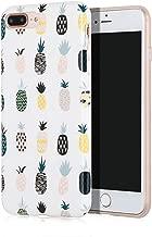 SunshineCases【Tropical Pineapples】 Flexible, Thin, Non-Slip Case Design【Compatible: Apple iPhone 8 Plus & iPhone 7 Plus】