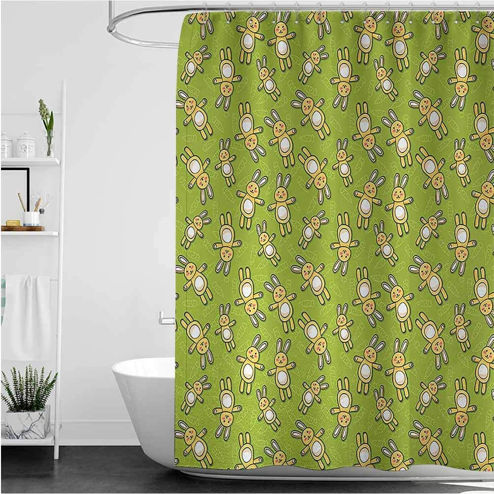 Anime Cute Shower Don't miss Sacramento Mall the campaign Curtain Kids Toy on a Green B Rabbits Pattern