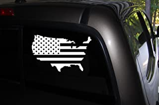 Classy Vinyl Creations USA Flag Decals, Patriotic Decal, USA Flag Sticker, Decal Car Truck Automotive Window Decal,Black or White Decal, Bumper Sticker 4.2