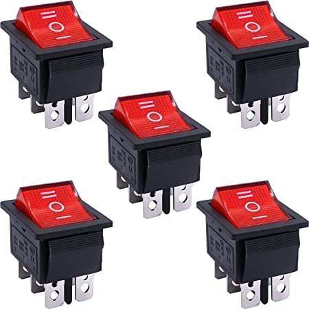 10Pcs Semetall 4 Pins 2 Position I//O On Off DPST Button Switch AC 20A//125V 22A//250V Boat Rocker Marine Push Button Switch