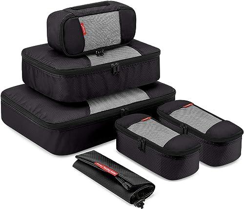 Travel Packing Cubes, Gonex Luggage Organizers L+M+3XS+Laundry Bag Black