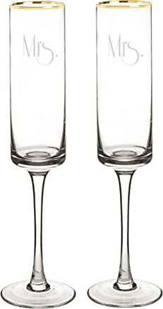 Gatsby Dotted Contemporary Champagne Flutes Clear//Gold Cathy/'s Concepts Cathys Concepts GMM-GD3668 Mr /& Mrs